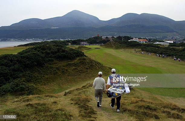 Jack Nicklaus and his caddy on the 9th during the third round of the Senior British Open at Royal County Down Golf Club Newcastle Northern Ireland...
