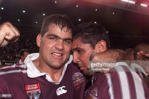 John Buttigieg and John Doyle of QLD celebrate after winning the third and final State of Origin match between NSW Blues v QLD Maroons at ANZ stadium...