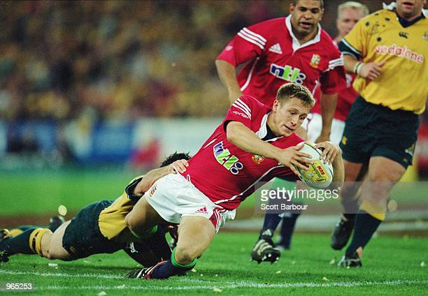 Jonny Wilkinson of the Lions dives over to score a try during the Second Test Match between the Australian Wallabies and the British and Irish Lions...