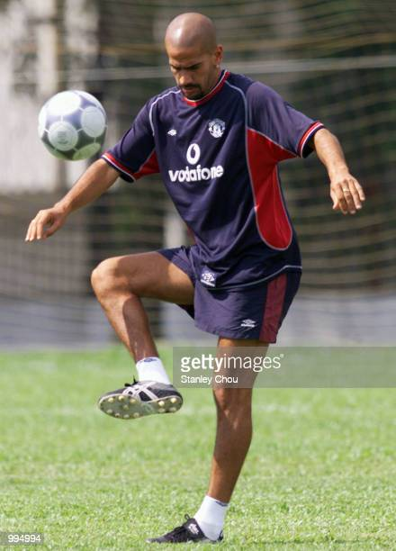 Juan Sebastian Veron of Manchester United in action during a training session held at the Fam Training Ground in Petaling Jaya Malaysia during the...