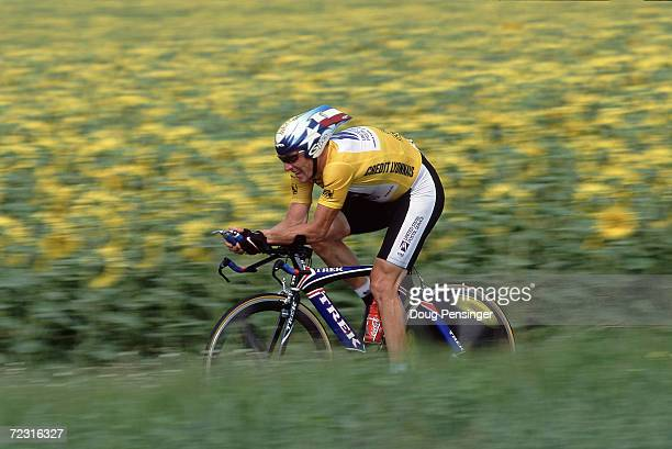 Lance Armstrong of the USA and the US Postal team on stage 18 of the Tour de France from Montlucon to St Amand Montrond in France. Mandatory credit:...