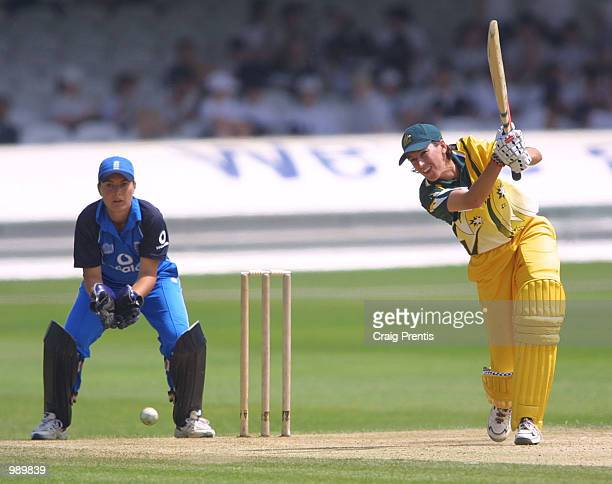 Lisa Keightley of Australia in action on her way to 52 with Jane Cassar of England behind the stumps during the Women's One Day International at...