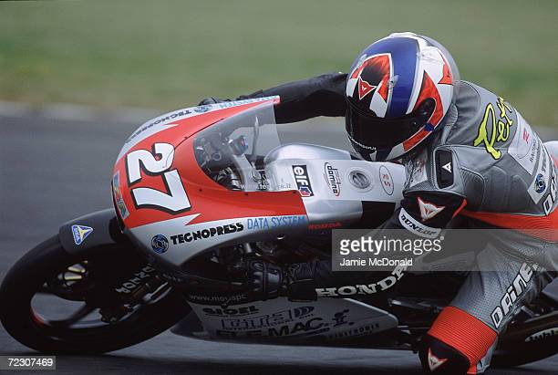 Marco Petrini of Italy in action for the Racing service Team during the 125cc Class British Grand Prix held at Donigton Park Race Track in...