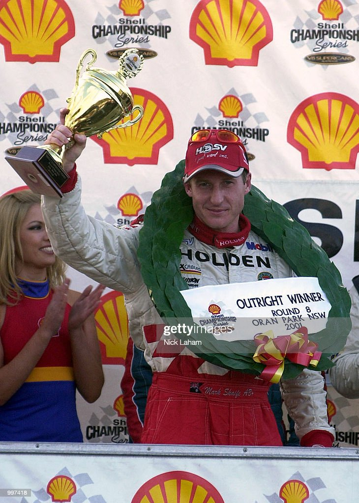 Mark Skaife celebrates overall victory in the round 8 Shell Championship Series held at Oran Park race track Sydney, Australia. DIGITAL IMAGE Mandatory Credit: Nick Laham/ALLSPORT