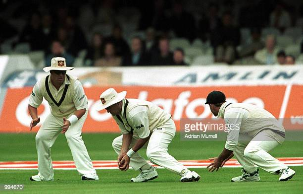 Mark Waugh of Australia catches Mark Butcher of England to equal Mark Taylor's world record of catches during the match between England and Australia...