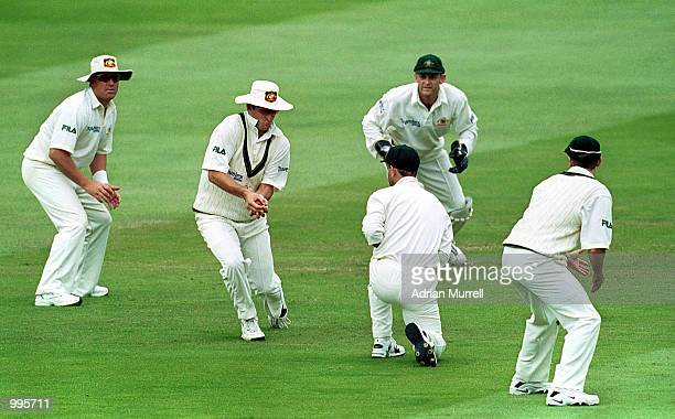 Mark Waugh of Australia catches the ball to make a new World Record of catches in test matches during the fourth day of the Second Npower Test...