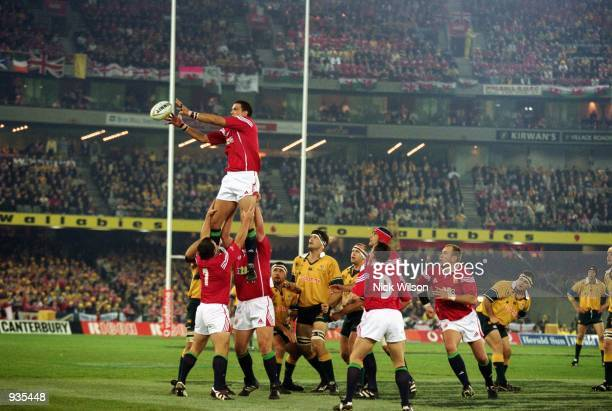 Martin Johnson takes the line-out ball during the second Test Match between the Australian Wallabies and the British and Irish Lions played at...