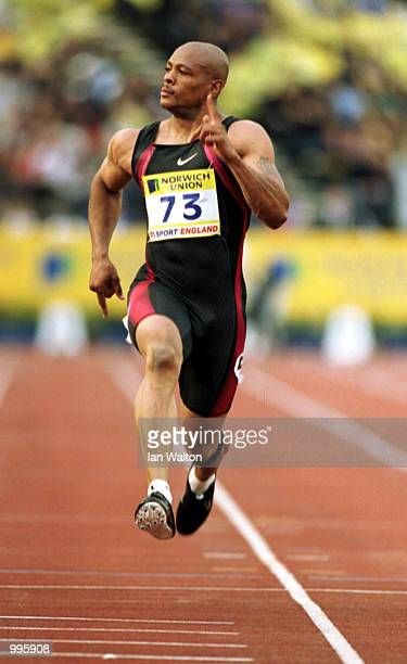 Maurice Greene of USA in action in the mens 100m during the Norwich Union British Grand Prix at Crystal Palace London Mandatory Credit Ian...