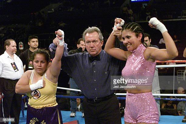 Mia St John and Imelda Arias after their fight at Staples Center in Los Angeles California The result was a majority draw after four rounds DIGITAL...