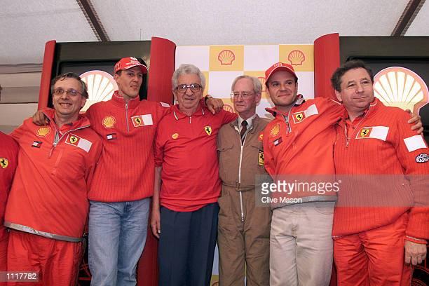 Paolo Martinelli Michael Schumacher Ener Vecchi Alastair Wadsworth Rubens Barrichello and Jean Todt of Ferrari at a Press Conference where the...