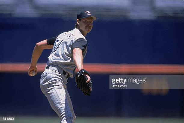 Pitcher Randy Johnson of the Arizona Diamondbacks throwing the ball during the game against the San Diego Padres at Qualcomm Park in San Diego,...