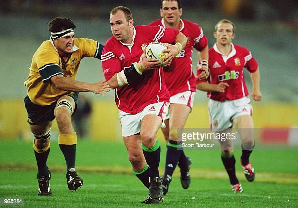 Scott Quinnell of the Lions in action during the Second Test Match between the Australian Wallabies and the British and Irish Lions played at the...