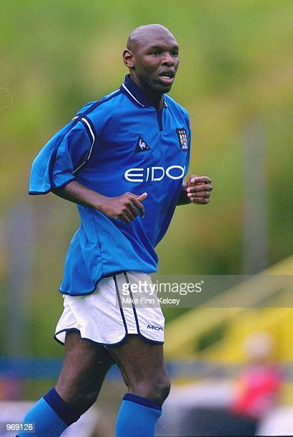 Shaun Goater of Manchester City in action during the pre-season friendly match against Halifax Town played at The Shay, in Halifax, England....