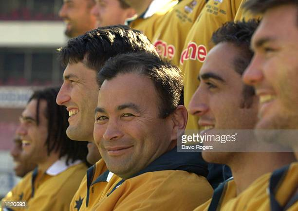 The Australian Rugby team line up for the first time with new coach Eddie Jones in charge during training in Pretoria South Africa DIGITAL IMAGE...