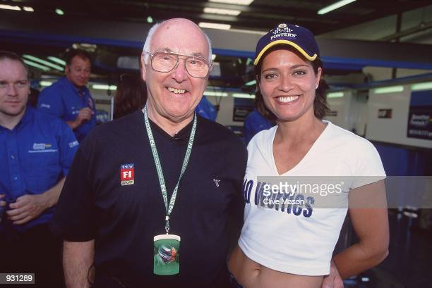 The voice of Formula One Murray Walker poses for photos with Amanda Stretton during the Formula One British Grand Prix held at Silverstone Race Track...