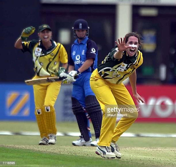 Therese McGregor of Australia traps Claire Taylor of England during the 2nd one day international between England and Australia at the County Ground...