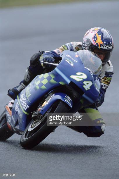 Toni Elias of Spain in action for the Telefonica Movistar Team during the 125cc Class British Grand Prix held at Donigton Park Race Track in...