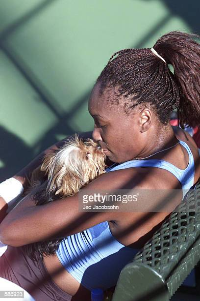 Venus Williams gets a kiss from her dog Bob after practicing before her match tomorrow at the Bank of the West Classic in Palo Alto Ca <DIGITAL...