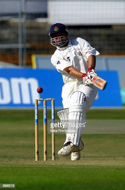 Warren Hegg of Lancashire hits out on his way to 76 against Yorkshire on day one of the CricInfo County Championship match at Headingley Leeds...