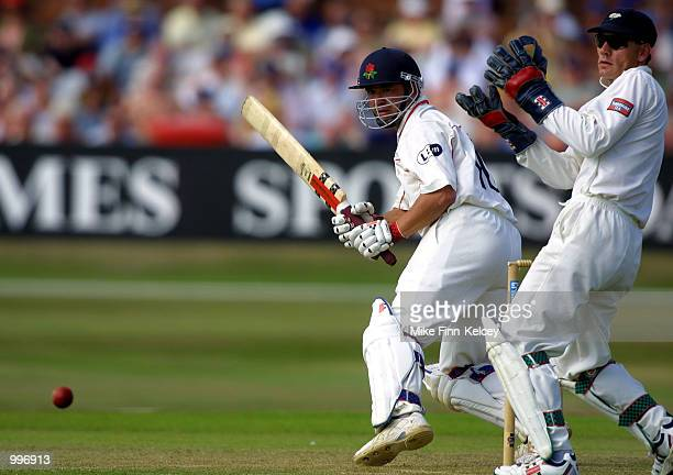 Warren Hegg of Lancshire hits out on his way to 76 against Yorkshire on day one of the CricInfo County Championship match at Headingley Leeds DIGITAL...