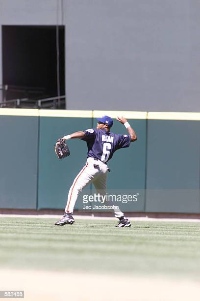Wilkin Ruan plays outfield for the World Team versus the USA during the 2001 Allstar Futures Game at Safeco Field in Seattle, Washington. <DIGITAL...