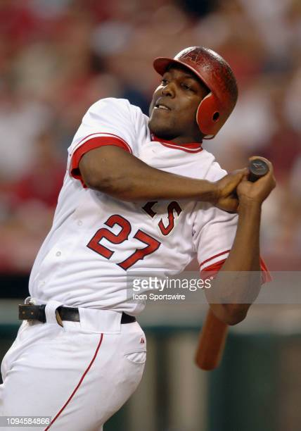 Anaheim Angels outfielder Vladimir Guerrero in action during an at bat in a game against the New York Yankees played on July 22 2005 at Anaheim...