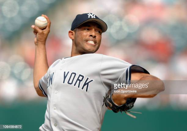 New York Yankees pitcher Mariano Rivera in action during the ninth inning of a game against the Anaheim Angels played on July 24 2005 at Anaheim...