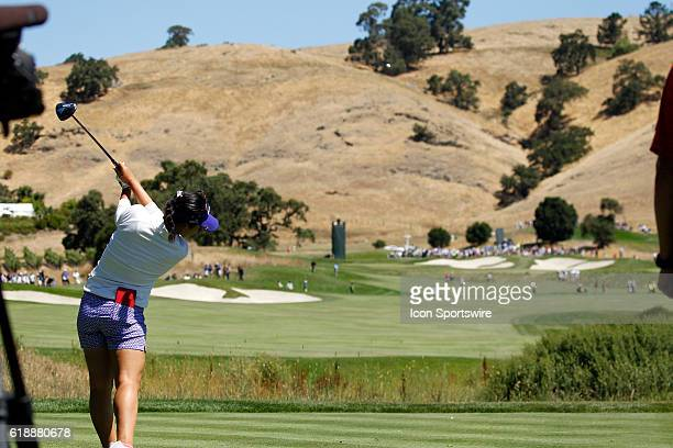 Rolling hills in the background provide a spacious view as Lydia Ko tee's off on Hole 3 at the LPGAUS Women's Open at CordeValle Golf Club in San...