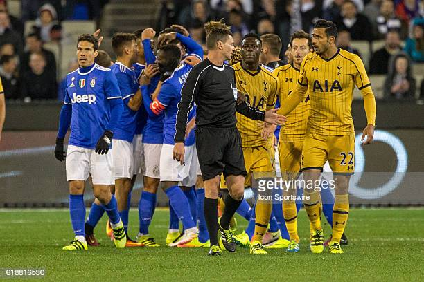 Tottenham Hot Spurs FC players protest while the Juventus FC celebrate their 2nd goal of the game during the International Champions Cup between...