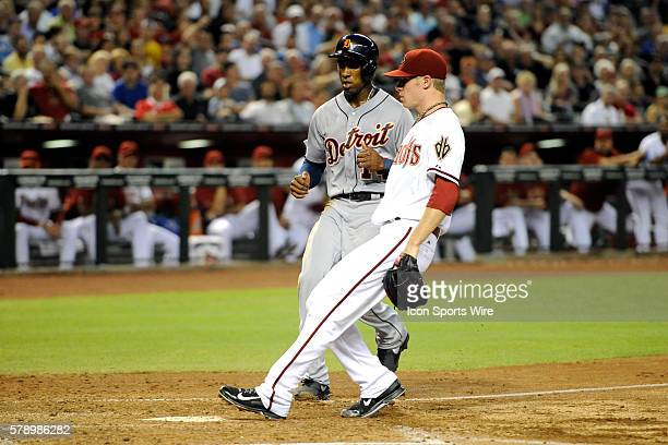 Jul 22 2014 Detroit Tigers center fielder Austin Jackson scores after a wild pitch by Arizona Diamondbacks starting pitcher Chase Anderson at Chase...