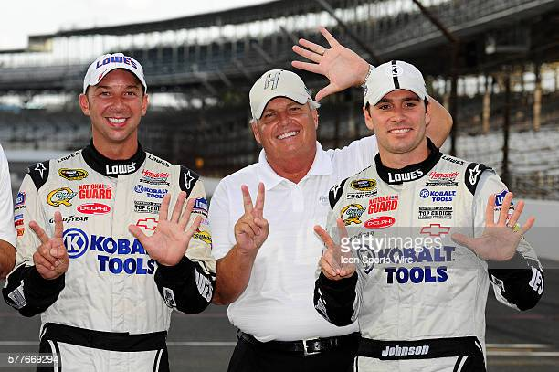 Chad Knaus Rick Hendrick and Jimmie Johnson celebrate winning the Allstate 400 at the Brickyard NASCAR Sprint Cup Series race on the Indianapolis...
