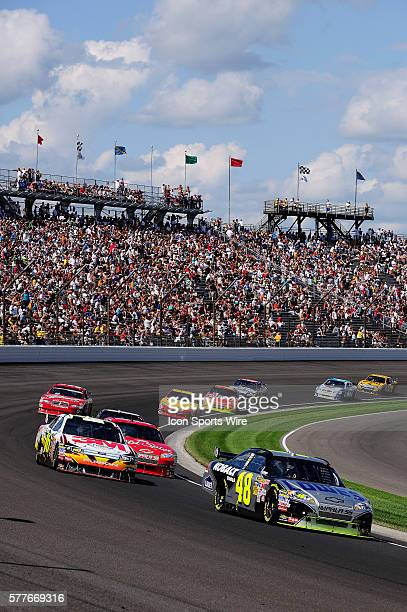 Jimmie Johnson Hendrick Motorsports Chevrolet Impala SS worked his way from a sixteenth starting spot to win the Allstate 400 at the Brickyard NASCAR...