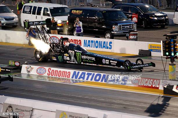 Brittany Force launches off the line during evening qualifiers at the qualifying session at the NHRA Sonoma Nationals in Sonoma CA