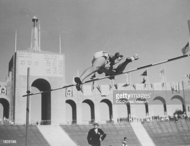 An Athlete in action during the High Jump event at the 1932 Olympic Games in the Coliseum Stadium Los Angeles USA Mandatory Credit IOC Olympic Museum...