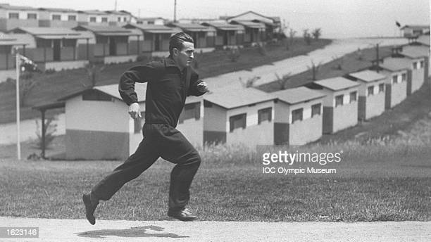 An athlete trains in the Olympic Village during the 1932 Olympic Games in Los Angeles, USA. \ Mandatory Credit: IOC Olympic Museum /Allsport