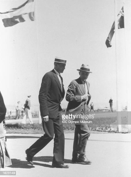 Distance Runner Paavo Nurmi of Finland walks with a friend during the 1932 Olympic Games in Los Angeles, USA. \ Mandatory Credit: IOC Olympic Museum...