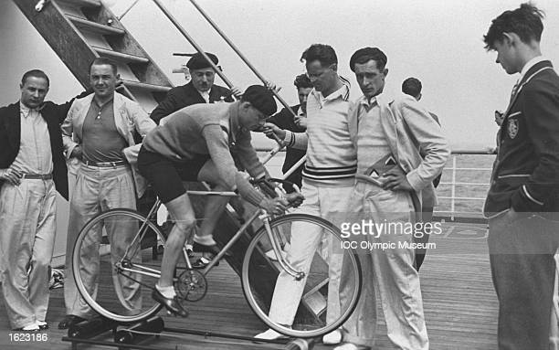 The French Team train for the Cycling events on board the Lafayette before the 1932 Olympic Games in Los Angeles Mandatory Credit IOC Olympic Museum...