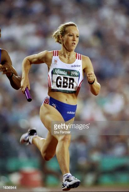 Allison Curbishley of Great Britain in action during the 4 x 400 metres Relay event of the 1996 Centennial Olympic Games at the Olympic Stadium in...
