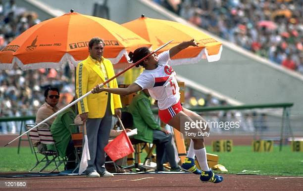 Maria CaridadColon of Cuba in action during the Womens Javelin event of the 1980 Olympic Games at the Lenin Stadium in Moscow USSR CaridadColon won...