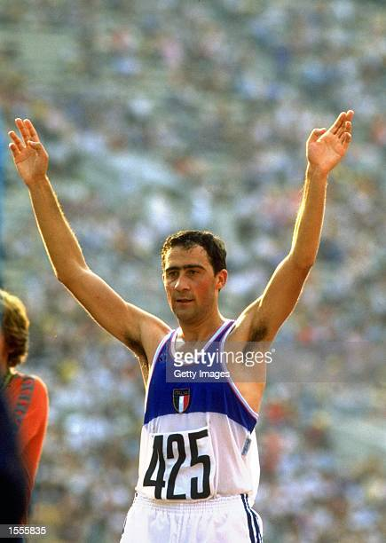 Maurizio Damilano of Italy celebrates after his victory in the 20 kilometres Walk event during the 1980 Olympic Games at the Lenin Stadium in Moscow,...