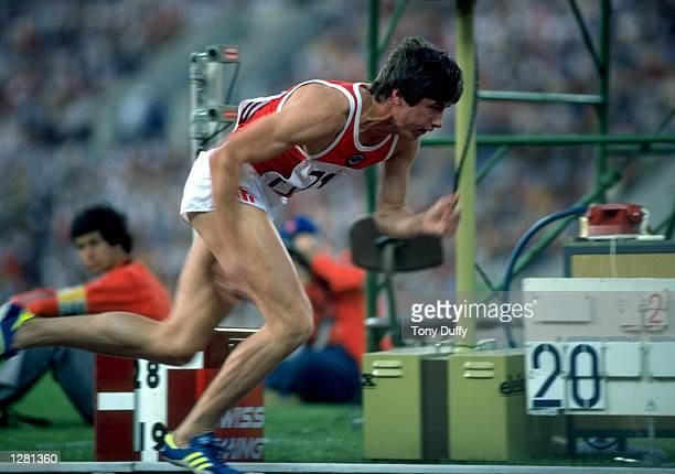 Viktor Markin of the Soviet Union in action during the Mens 400 metres event of the 1980 Olympic Games at the Lenin Stadium in Moscow USSR Markin won...