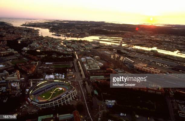 General view of the sun setting over the Ullevi Stadium during the Opening Ceremony of the World Championships in Gothenburg, Sweden. \ Mandatory...