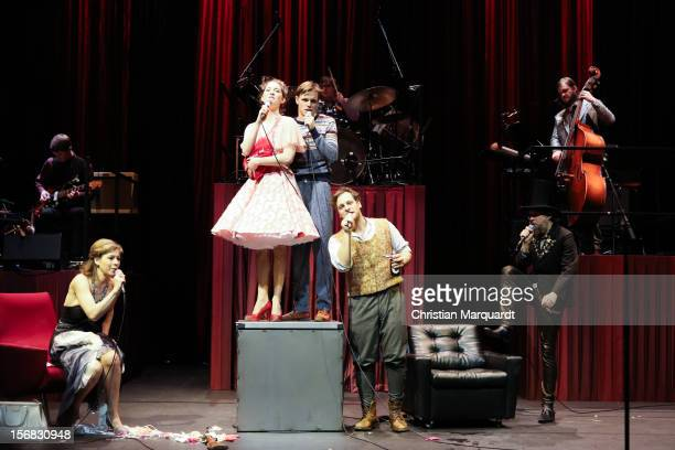 Jule Boewe Lucy Wirth Franz Hartwig Sebastian Nakajew and Ulrich Hoppe perform on stage during rehearsals for 'The Black Rider' at Schaubuehne am...