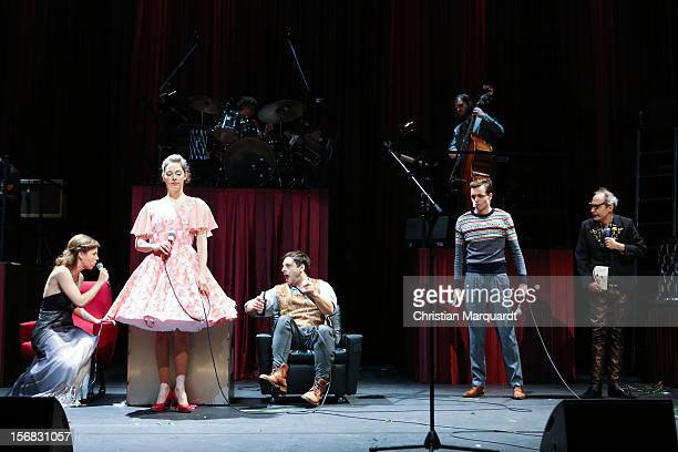 Jule Boewe Lucy Wirth Sebastian Nakajew Franz Hartwig and Ulrich Hoppe performs on stage during rehearsals for 'The Black Rider' at Schaubuehne am...