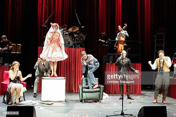 Jule Boewe Tilman Strauss Lucy Wirth Franz Hartwig Ulrich Hoppe and Sebastian Nakajew perform on stage during rehearsals for 'The Black Rider' at...