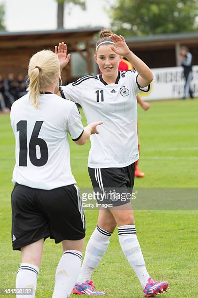 Jule Dallmann and Isabella Moeller after goal during the international friendly match between U17 Girl's Germany and U17 Girl's Romania on September...