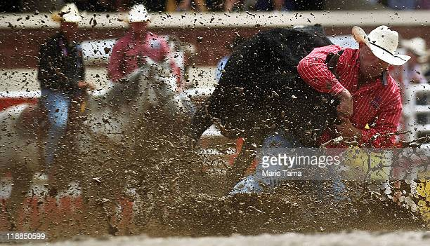 Jule Hazen competes in steer wrestling in the rodeo at the Calgary Stampede on July 11 2011 in Calgary Alberta Canada The ten day event drawing over...