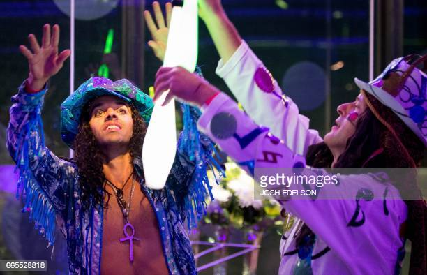 Juleano Wade dances during The Summer of Love Experience Art Fashion and Rock Roll an art exhibit at the deYoung museum in San Francisco California...