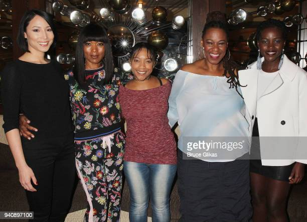 Julee Cerda Angela Bassett Treshelle Edmond Kecia Lewis and Lupita Nyong'o pose backstage at the new revival of the play 'Children of a Lesser God'...