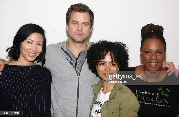 Julee Cerda Joshua Jackson Lauren Ridloff and Kecia Lewis pose at broadway's upcoming revival of 'Children Of A Lesser God' first rehearsal at The...